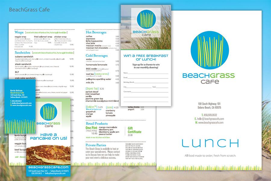 Beach Grass Cafe Menus and Promotional Marketing