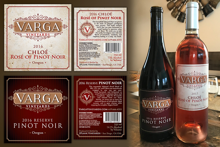 Varga Vinegards Wine Labels