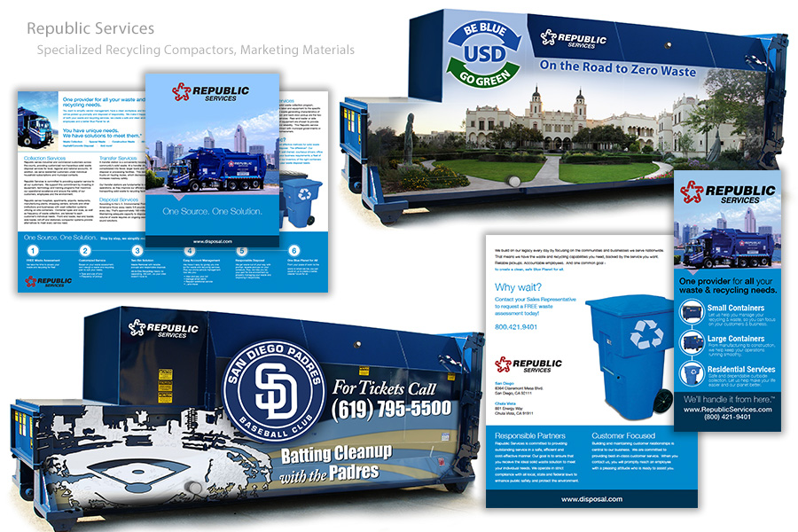 Specialized Recycling Compactors and Marketing Materials