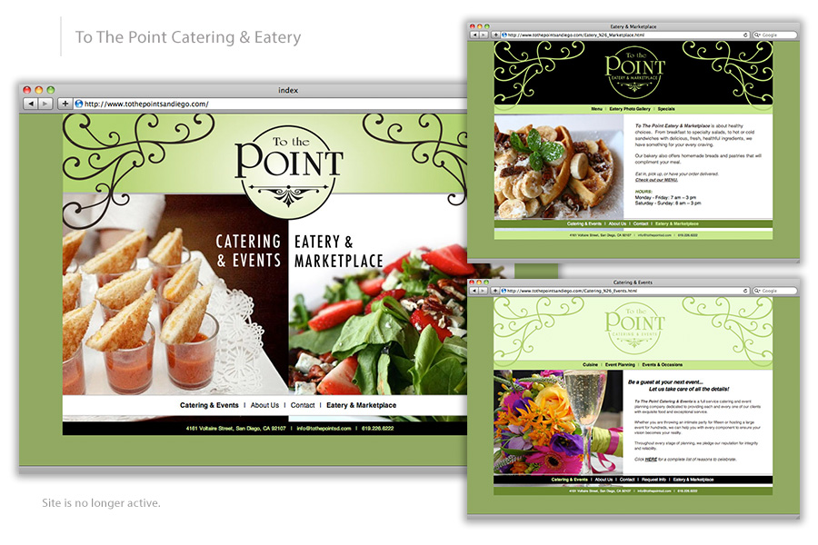 To the Point Catering & Eatery Web Design